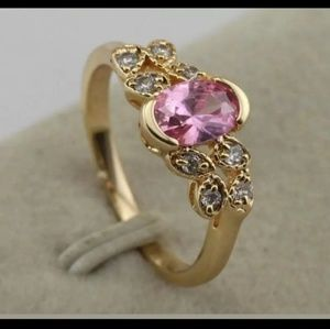 New 18kt GF pink cz sz 6 ring
